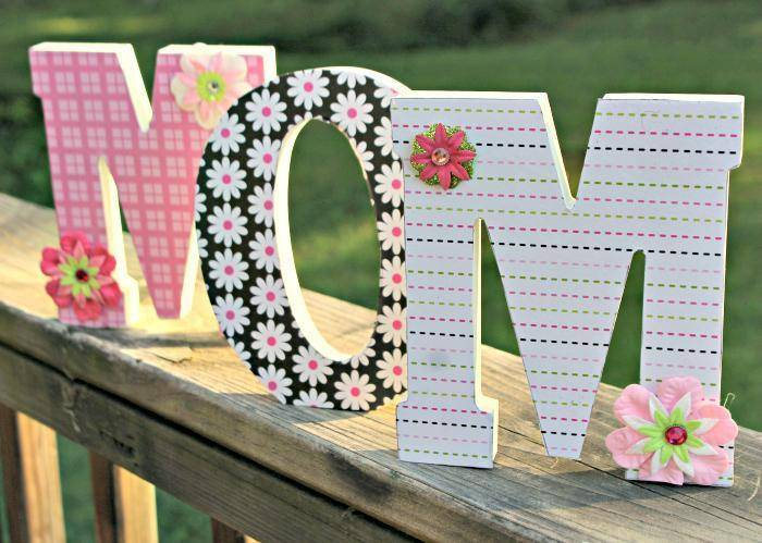 Scrapbook Paper Covered Letters Mothers Day Craft 4