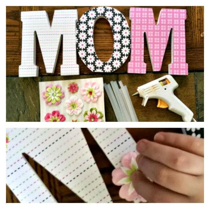 Scrapbook Paper Covered Letters Mothers Day Craft step two