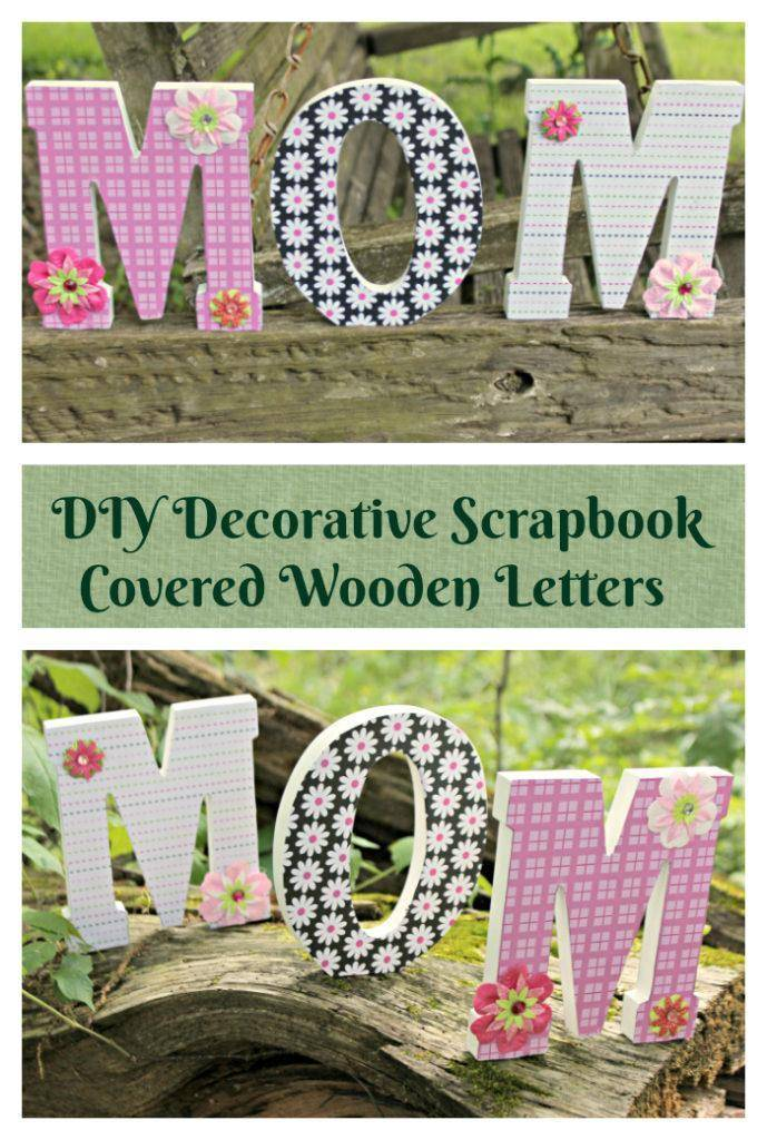 Mom will appreciate a craft dad and the kids made, like this cheerful Scrapbook Paper Covered Letters Mothers Day Craft