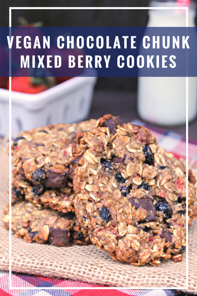 My Vegan Chocolate Chunk Mixed Berry Cookies are a healthy snack you can feel good about giving your kids! Mine are crazy about them!