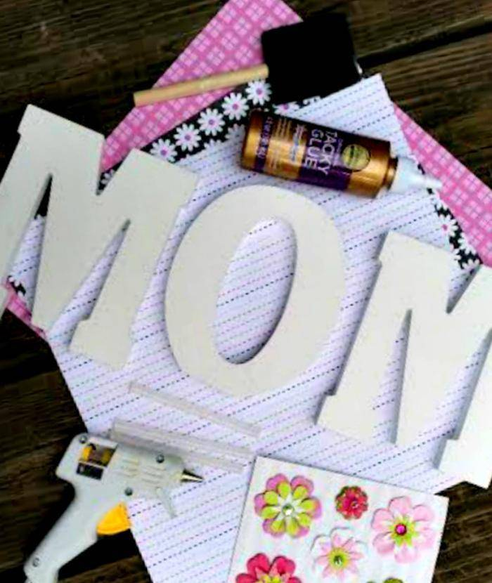 DIY Decorative Scrapbook Covered Wooden Letters supplies