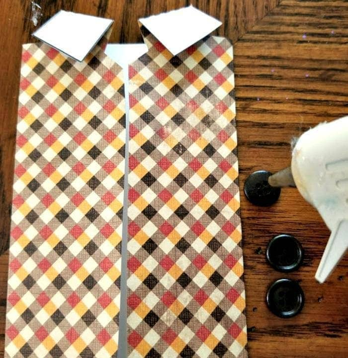 Homemade Father's Day Scrapbook Paper Vest Card buttons