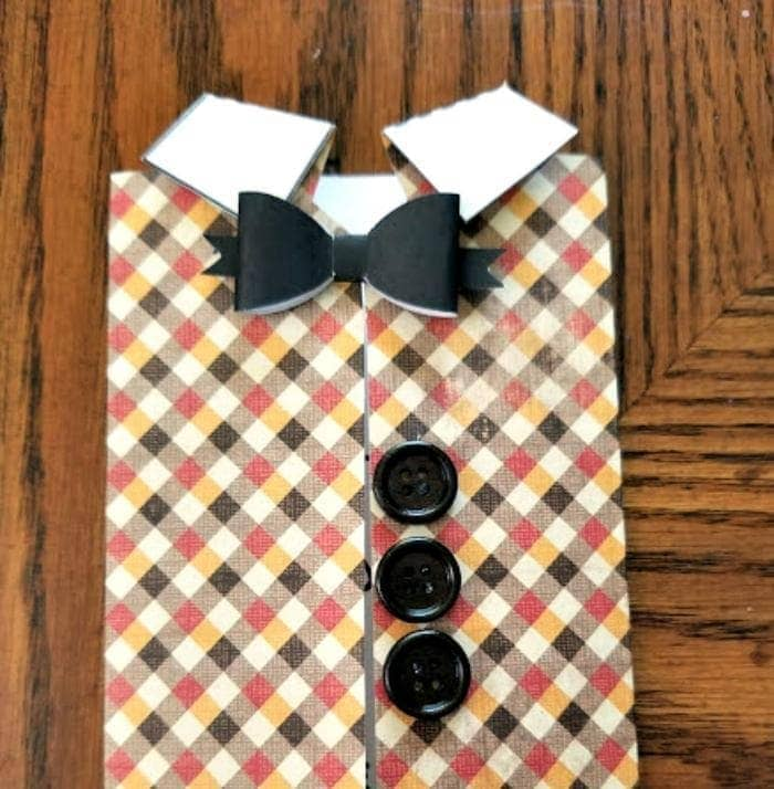 Homemade Father's Day Scrapbook Paper Vest Card bow tie