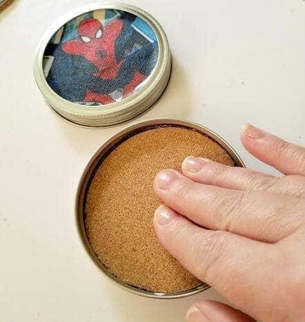 Superhero Mason Jar Lid Coaster Craft For Dad step four