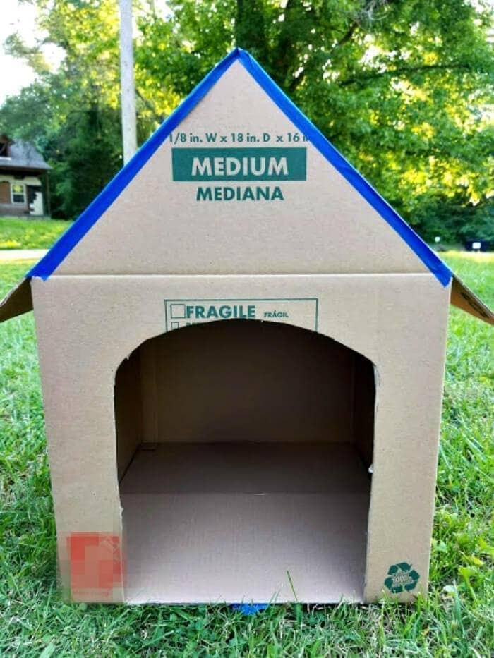 DIY Cardboard Cat House Tutorial step seven