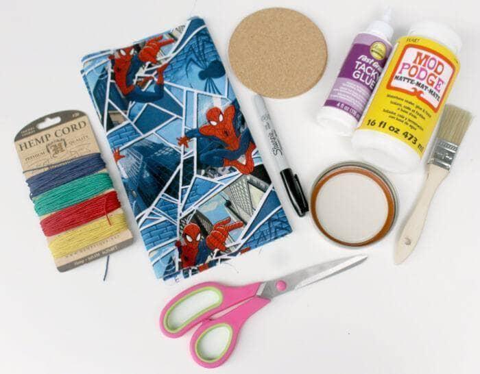 Superhero Mason Jar Lid Coaster Craft For Dad supplies