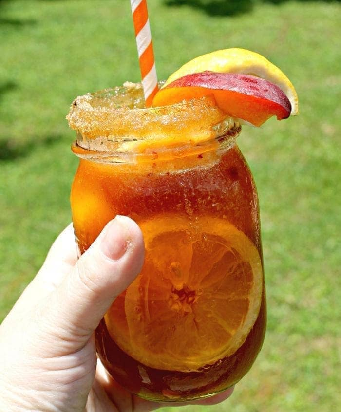 Grilled Peach And Brown Sugar Bourbon Iced Tea glass