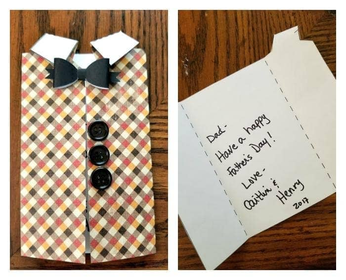 Homemade Father's Day Scrapbook Paper Vest Card insude