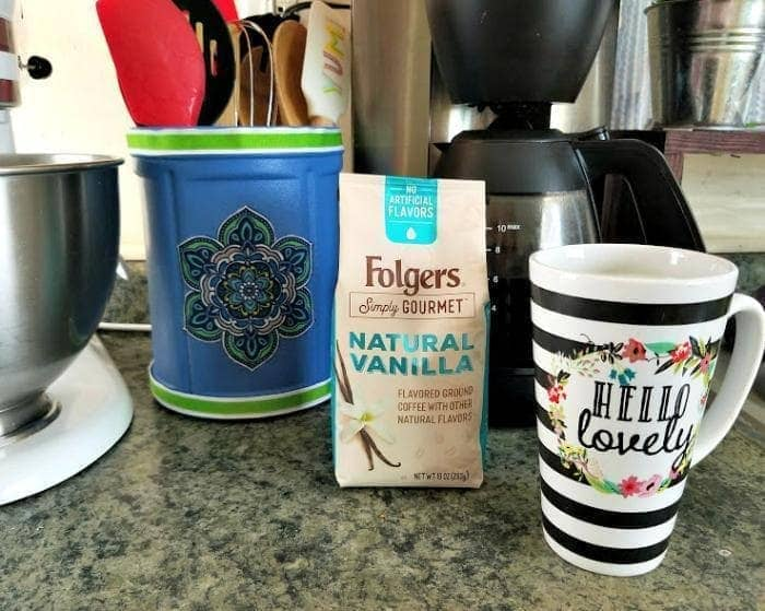 DIY Decoupage Coffee Container Utensil Holder coffee inside