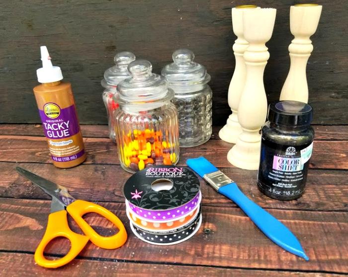 DIY Halloween Candy Jar Craft supplies
