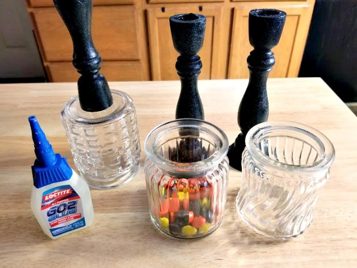 DIY Halloween Candy Jar Craft glue