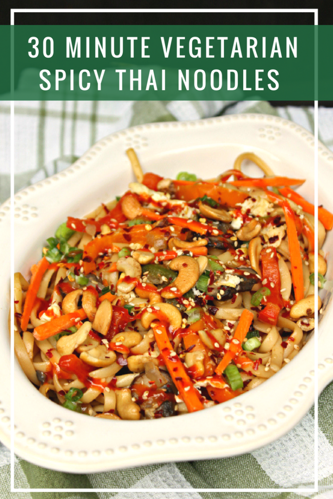 My 30 Minute Vegetarian Spicy Thai Noodles is a heart healthy recipe that is packed with flavor! #ad