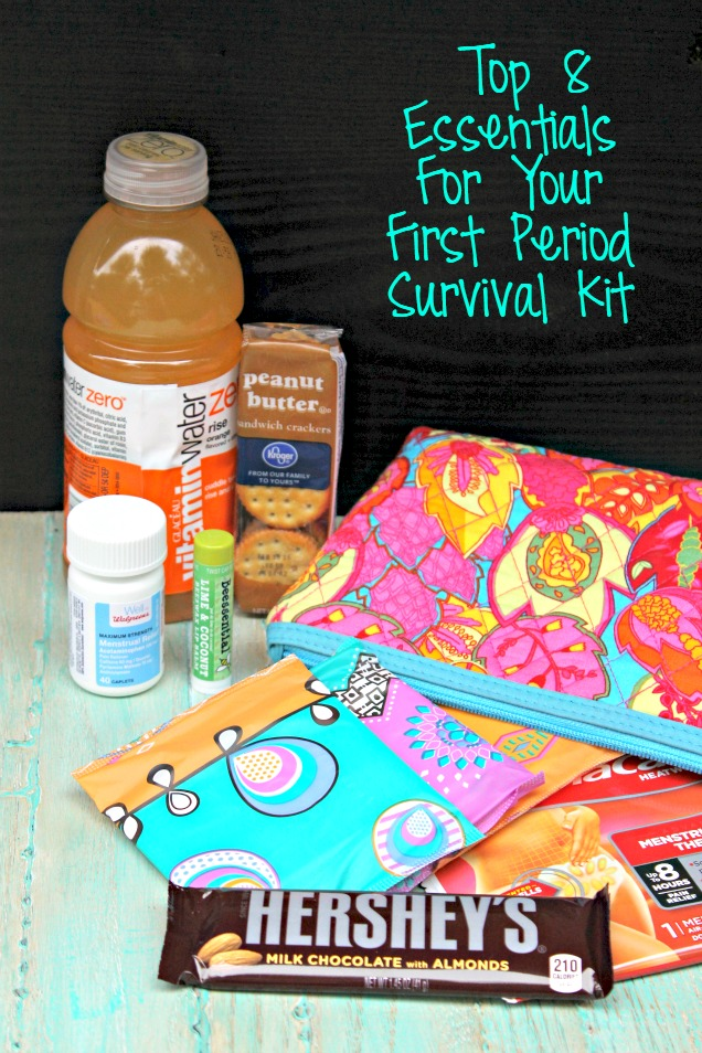 Are you worried about getting your first period? No worries! Fill a bag with these items for your first period survival kit and you are all set!