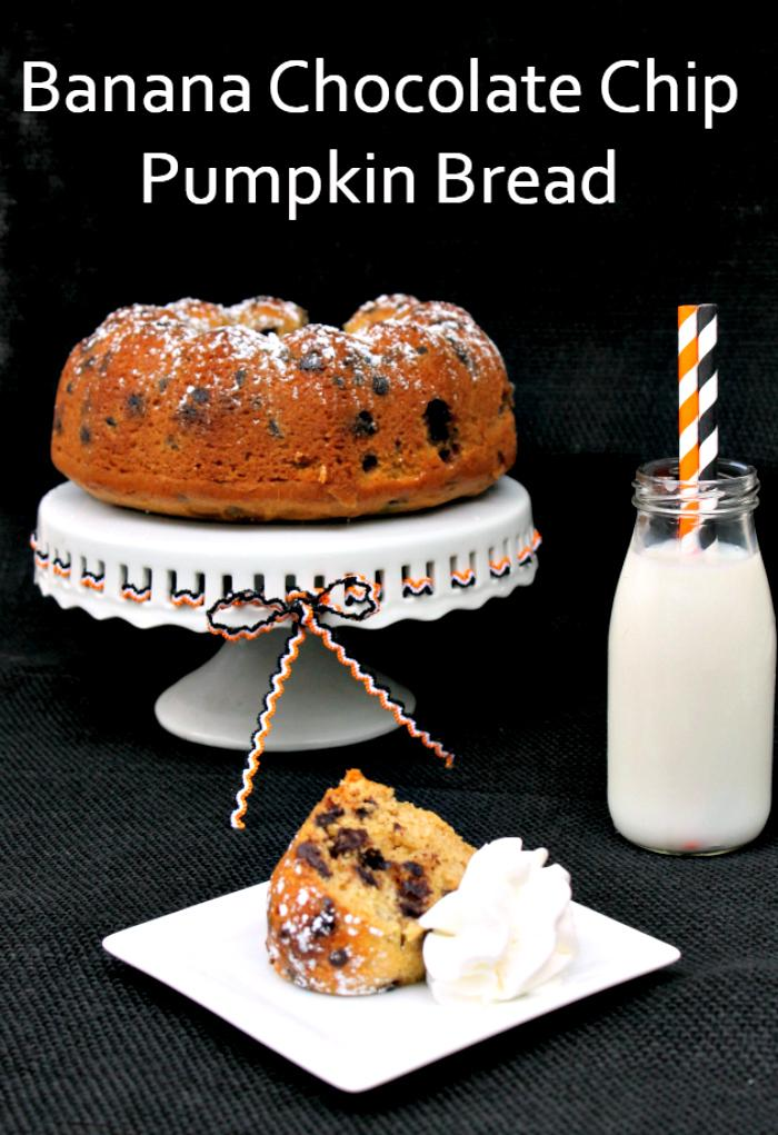 One of your new favorite fall dessert recipes is going to be my Banana Chocolate Chip Pumpkin Bread recipe!