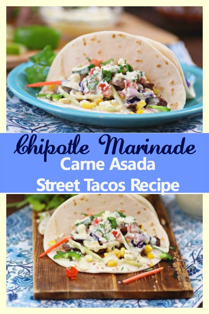 My Chipotle Marinade Carne Asada Street Tacos Recipe With Homemade Jalapeno Ranch Dressing is better than ever after making a few heart healthy ingredient swaps! #ad #MarinadesWithMazola #MakeItWithHeart