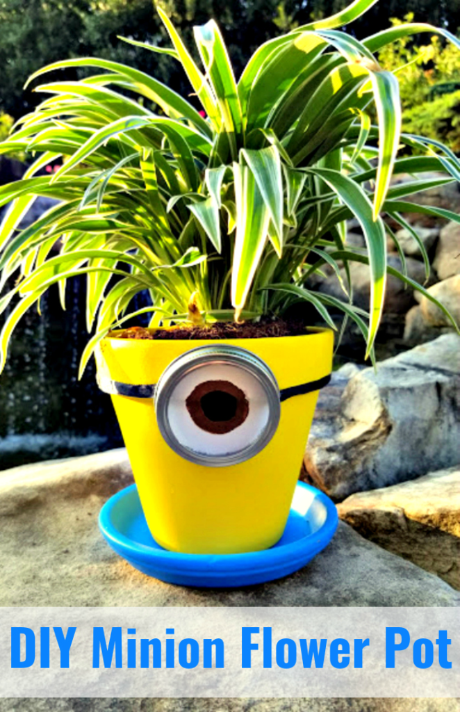 This DIY Minions Flower Planter craft is an easy and cute Minions craft for kids to make. This cheap craft project will cost about $10 and take about an hour to complete. Perfect for a rainy afternoon!