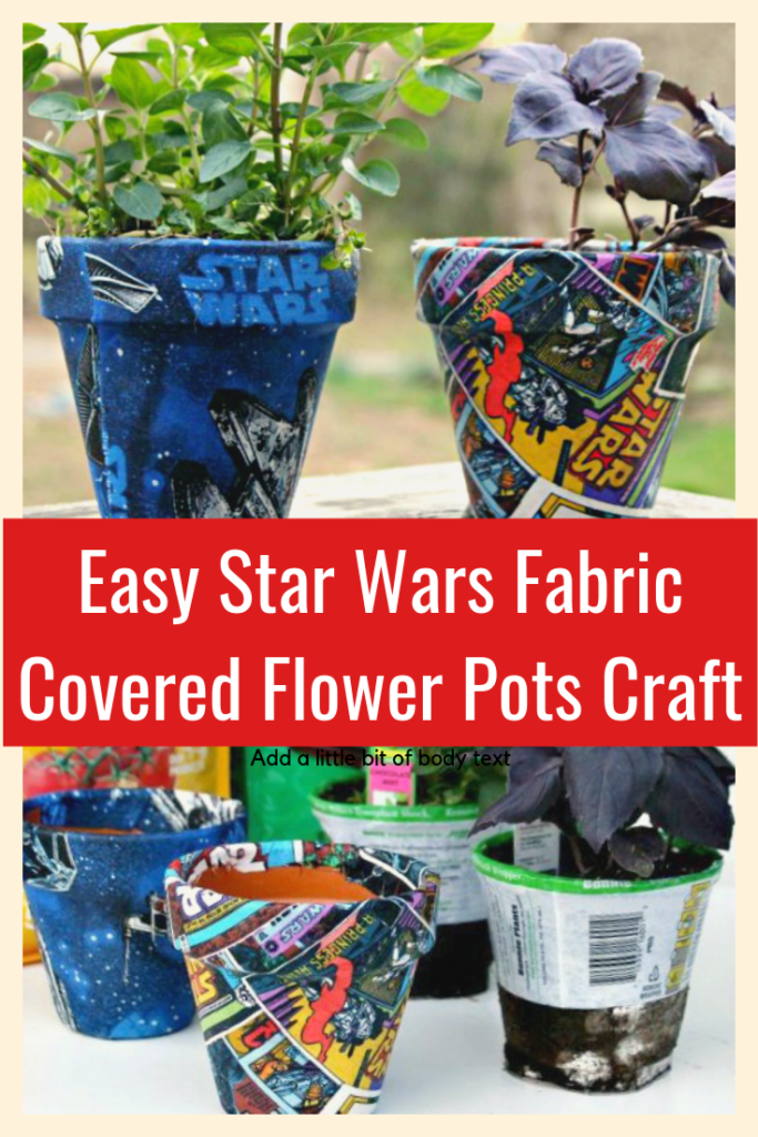 This Easy Star Wars Fabric Covered Flower Pots Craft Idea is a great way to start a indoor garden