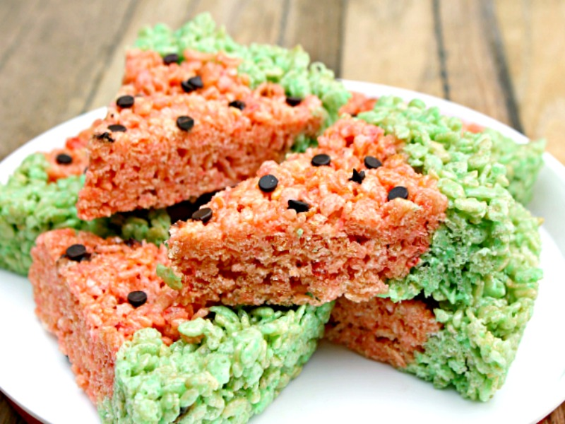 Easy Watermelon Rice Krispie Marshmallow Treats Recipe