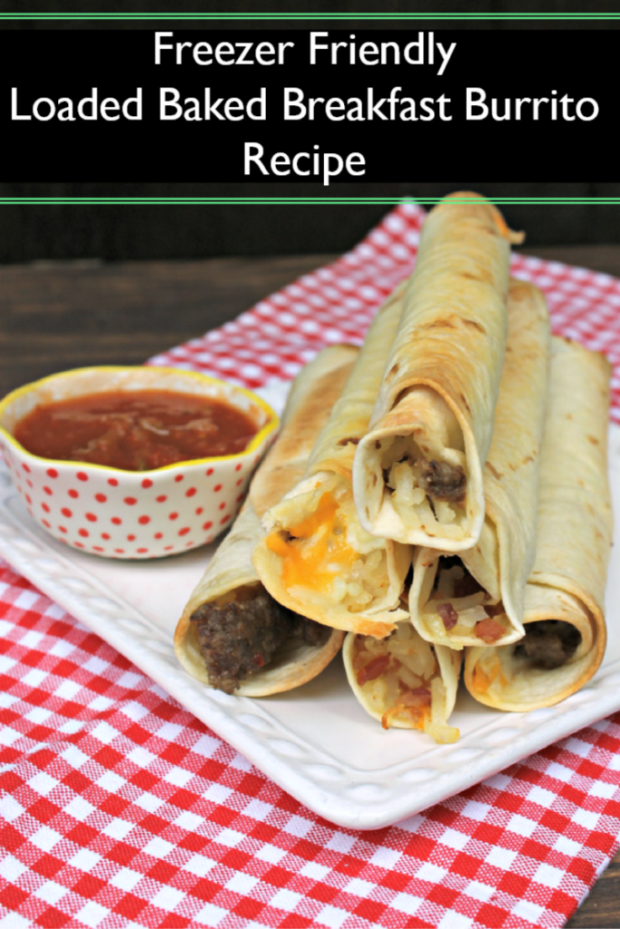 Save time in the morning by serving the kids this freezer friendly loaded baked Breakfast Burrito Recipe. Pop them in the microwave and you are ready to go!