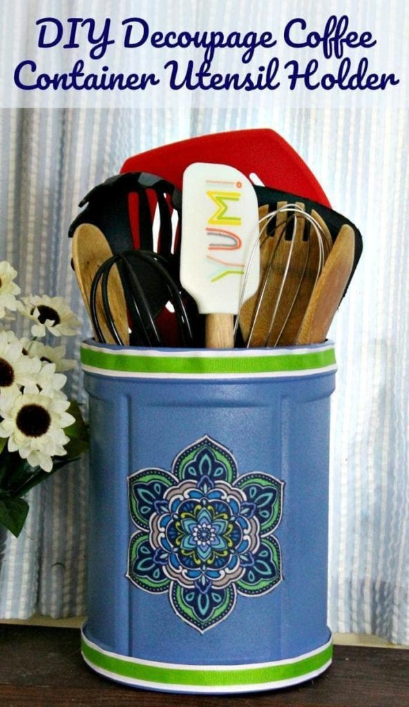Are you are a busy mom? I bet it is hard to find time for yourself! I love to relax with a cup of @folgers Simply Gourmet coffee from @walmart, and make a craft, like this DIY Decoupage Coffee Container Utensil Holder #ad