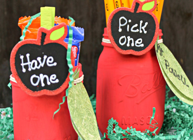 Apple Mason Jar Pencil Holder Teacher Gift Craft