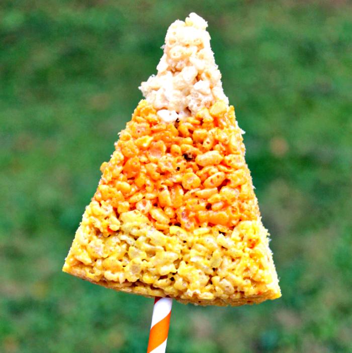 Fun Halloween Snacks: Candy Corn Rice Krispies Treats 2