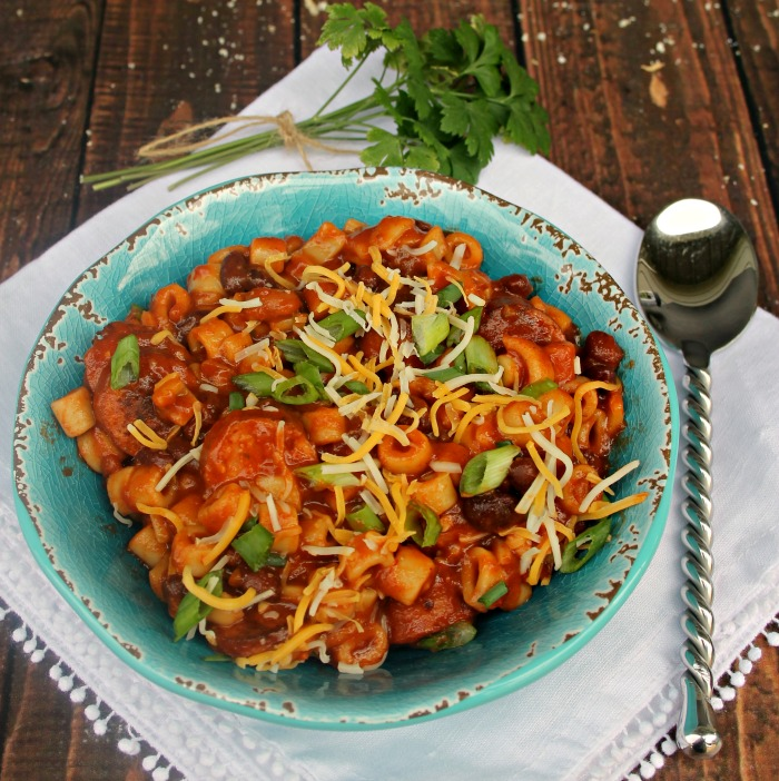 Spicy Crock Pot Sausage, Bean And Pasta Soup