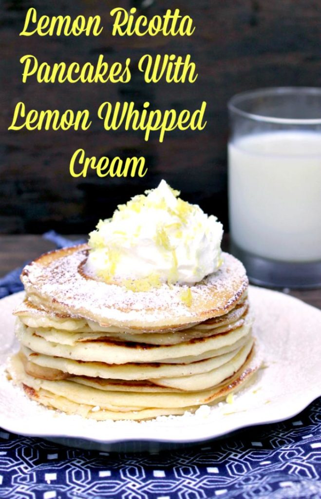 These Lemon Ricotta Pancakes Recipe With Lemon Whipped Cream are so light and fluffy! They are a great breakfast recipe idea.