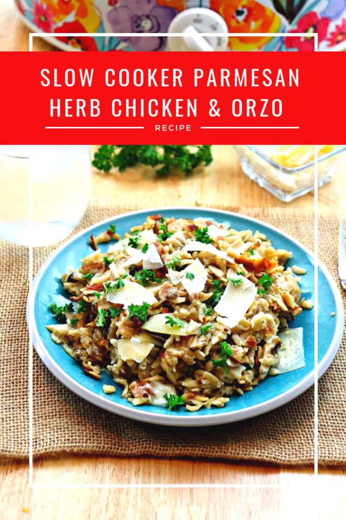 Not only does the new cookbook #SlowCookerSunday have great recipes like this Slow Cooker Parmesan Herb Chicken and Orzo Recipe, but Net proceeds from sales of the book will support the Feeding America organization! #ad