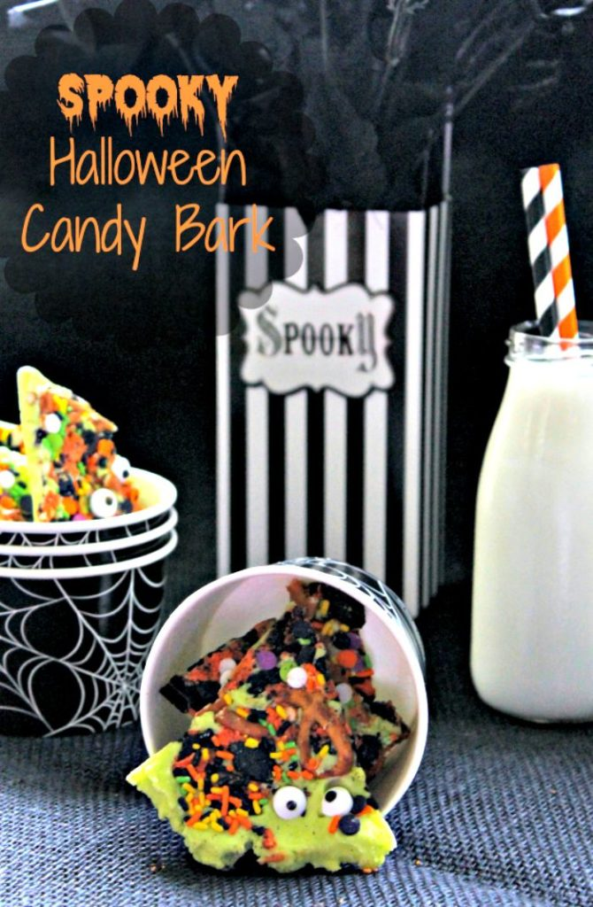 If you are looking for fun Halloween party food ideas, this Spooky Halloween Candy Bark is easy and cheap to make!