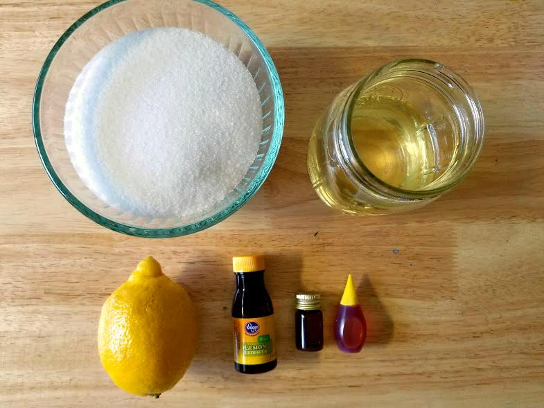 DIY Essential Oil Lemon Sugar Body Scrub ingredients