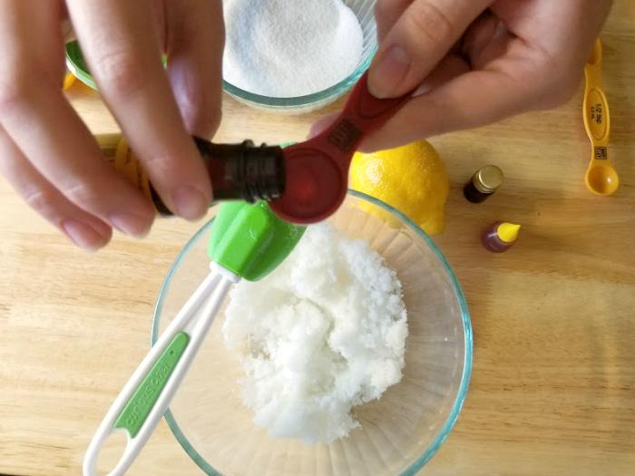DIY Essential Oil Lemon Sugar Body Scrub step 3