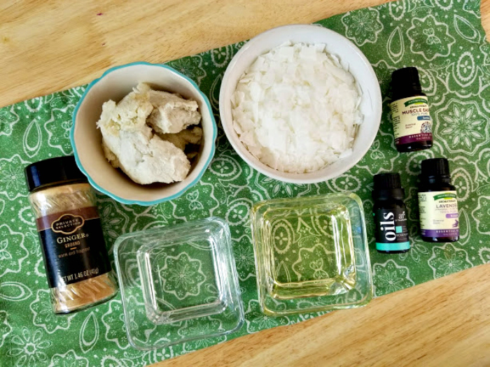 Homemade Essential Oils Muscle Ache Ointment supplies
